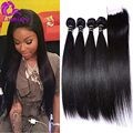 7A Peruvian Virgin Hair with Closure Peruvian Straight Hair 4Bundles With 4*4 Lace Closure With Bundles Human Hair With Closure