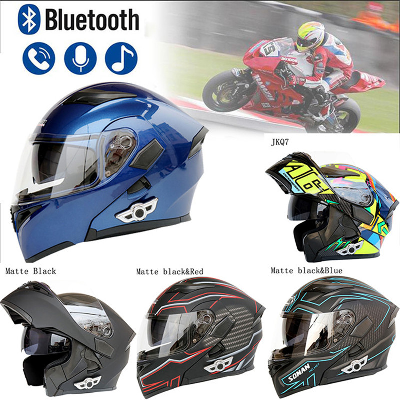 Motorcycle Bluetooth Helmet Motorcycle Open Face Helmets D.O.T Safety Standard//Bluetooth Music//Automatic Answer//Front Flip Anti-Fog Double Mirror Comes With FM,2XL 63~64CM
