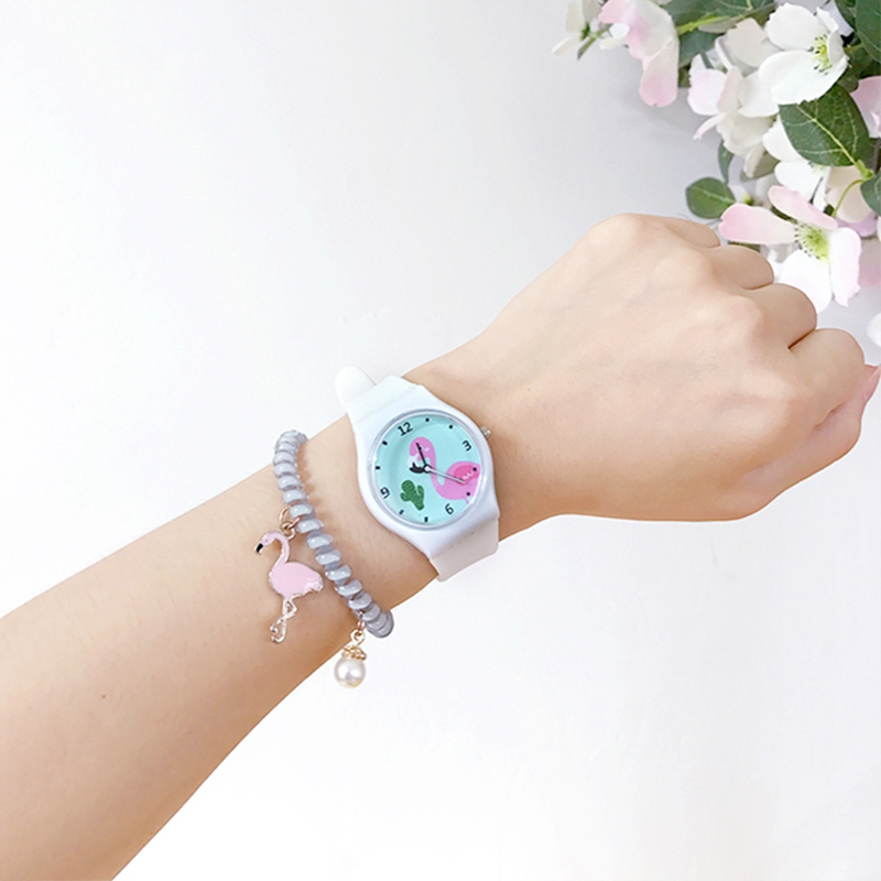4 Colors Kid's Silicone Watch Cute Cartoon Flamingo Watch Dial Students Quartz Wristwatch Montre Enfant 1835