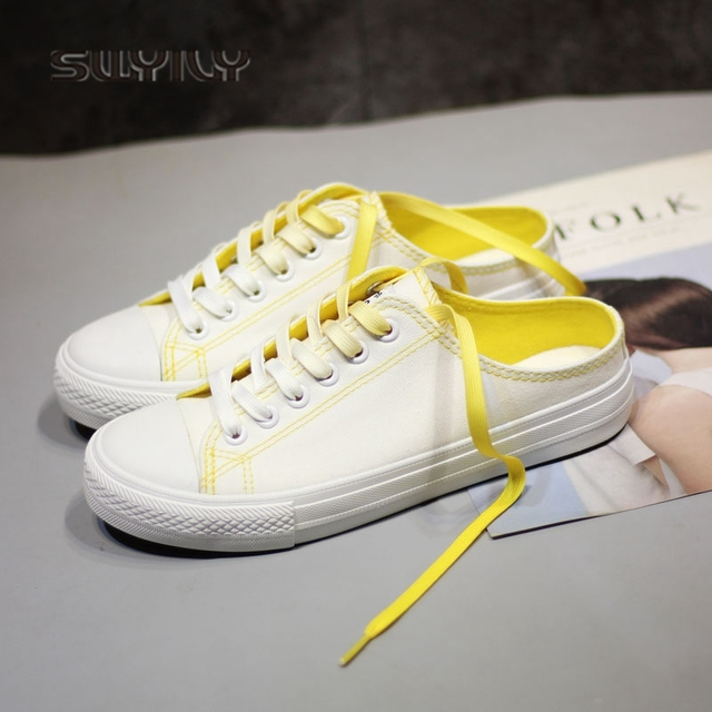 SWYIVY Sneakers Woman 2018 Candy Color Casual Canvas Shoes Woman Half  Slipper White Sneaker Woman Flat 63a1a8af5d24