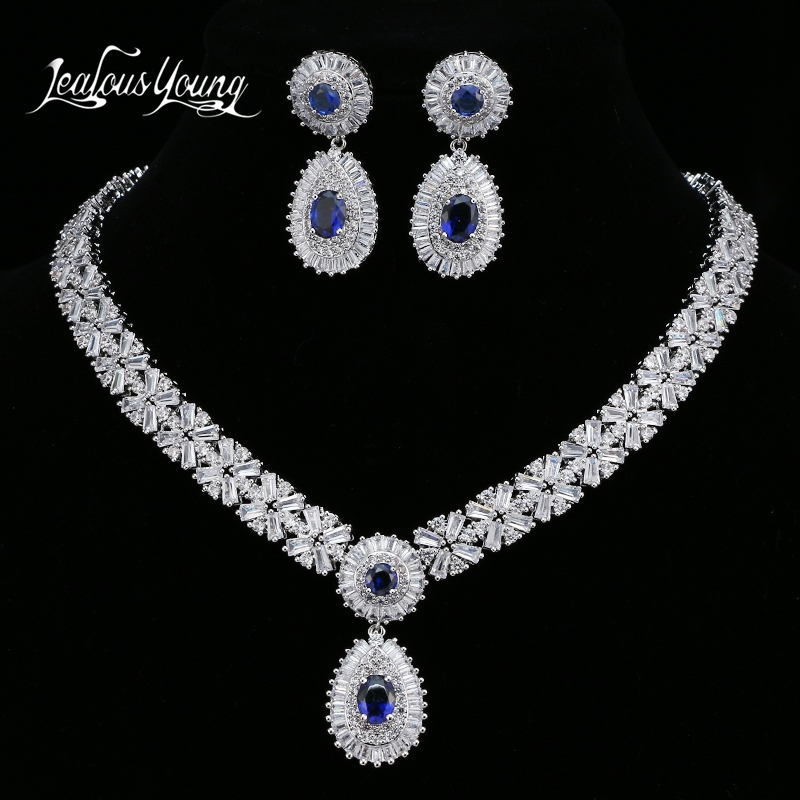 Luxury Blue Cubic Zircon Bridal Jewelry Sets For Women Wedding Sets White Gold Color African Beads Jewelry Set Jewellery AS152 new purple jewelry bridal sets 3 layers bridal jewelry sets gold color big african costume jewellery set for brides women 2018