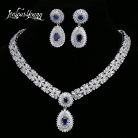 Luxury Blue Cubic Zircon Bridal Jewelry Sets For Women Wedding Sets White Gold Color African Beads Jewelry Set Jewellery AS152