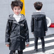 Children's clothing boy autumn and winter clothes plus velvet thick leather jacket 2018 new children boy children's winter coat