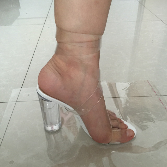 caa9505cefb Kim Kardashian PVC Women Sandals Ankle Strap Round Clear High Heels 10cm  Real Images Sexy Party Sandals Transparent Plastic