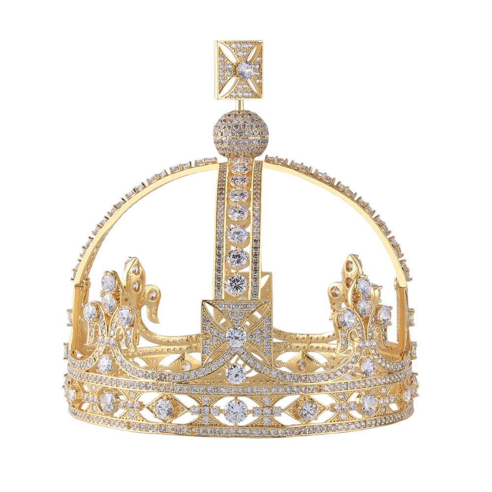 5.2 inch Height Royal Vintage Crown Pure Gold Color AAA Cubic Zirconia Tiara Wedding Party Quinceanera Crowns GSHG001