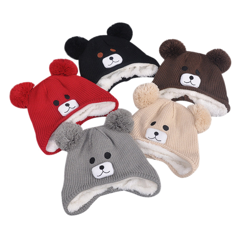 Soft Warm Bear Beanie Hat For Baby Boys Girls Cute Cartoon Kids Hat With Pompom Knitted Double Layer Velvet Winter Baby Hat New