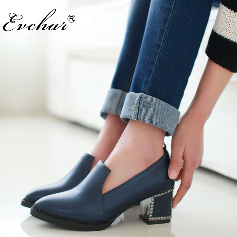 Pumps Black Slip-On-Shoes Med Heel Autumn Woman Spring Pointed-Toe Big-Size Fashion 33-48