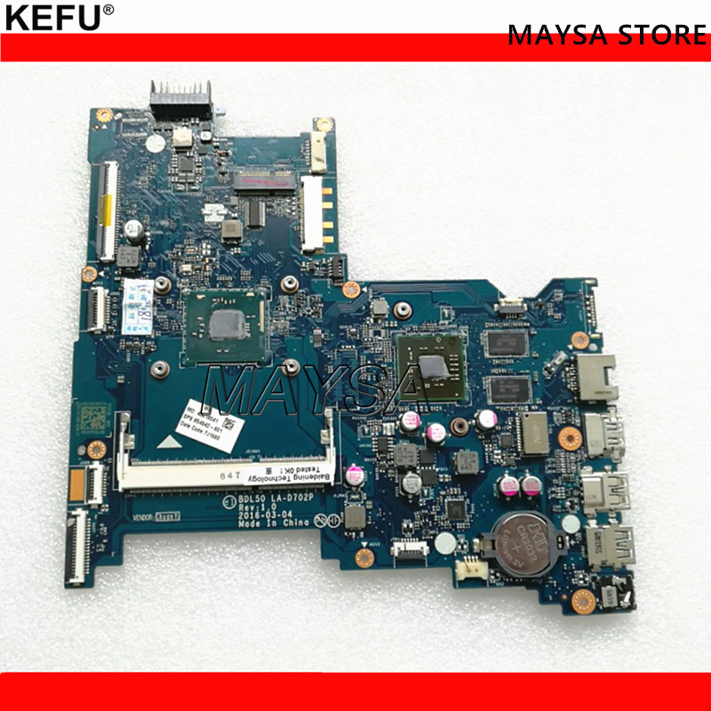 KEFU Laptop Motherboard Fit For HP 15-AY Notebook PC Main Board 854942-001 854942-501 854942-601 N3710 LA-D702P 2G free shipping 854949 601 bdl50 la d702p for hp notebook 15 ay series motherboard with n3160 cpu all functions 100