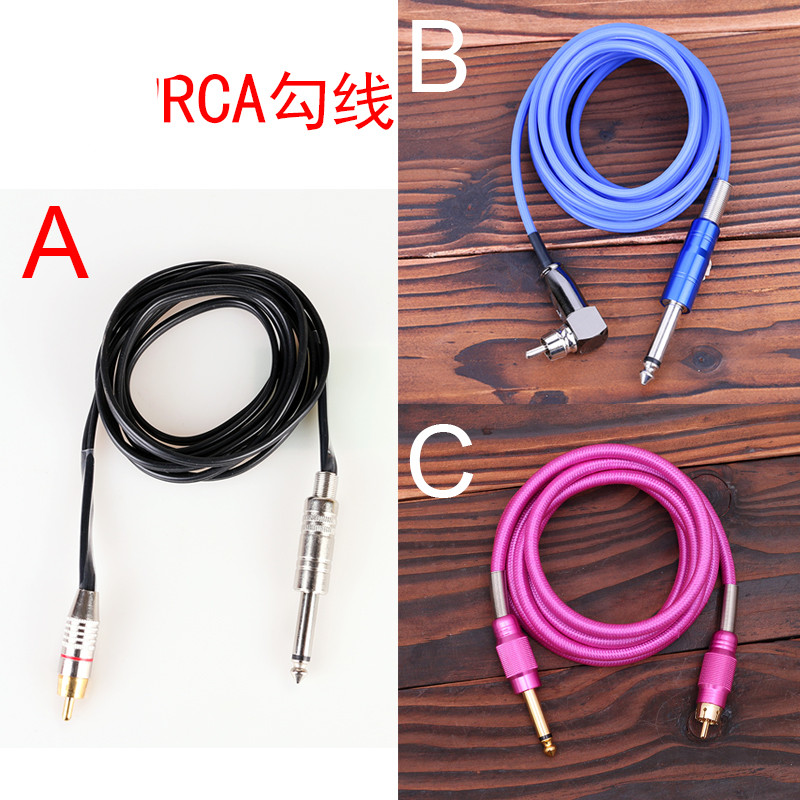 A and B Type 6Ft 1.8m Red Black Blue Yellow Purple Flexible Silicone RCA Clip Cord Plug 1/4 Tattoo Machine Power Supply black red yellow blue skull design stainless steel tattoo foot pedal switch footswitch power supply