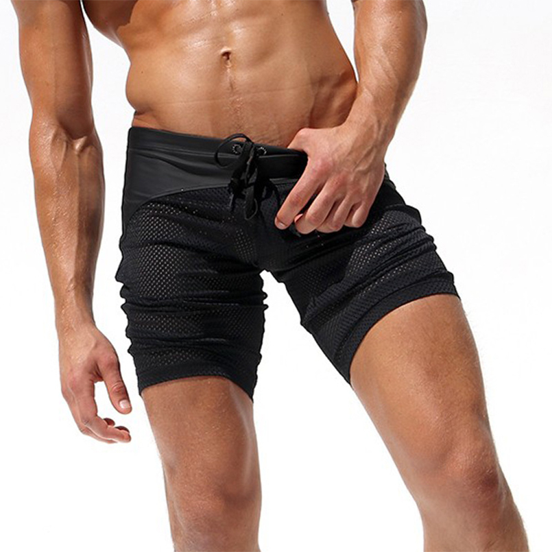 Male Surfing Pants For beach Boys Polyester Swimming trunks Meah Stitching Breathable Sexy Quick dry Drawstring