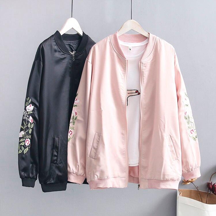Vintage Embroidery Basic Jacket Coat Autumn 2019 Street Satin Bomber Jacket Women  Baseball Jackets  Plus Size