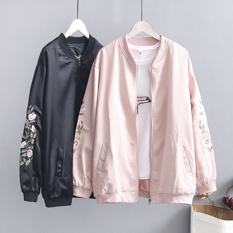 Vintage Embroidery   Basic     Jacket   Coat Autumn 2019 Street Satin Bomber   Jacket   Women Baseball   Jackets   Plus Size
