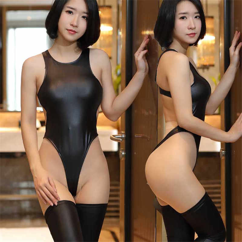 Sexy High Elastic Backless Candy Color Bodysuit New Lolita Girls Faux Leather Bodysuit Sets Sexy Bikini Tight Oil Shiny Bodsuit