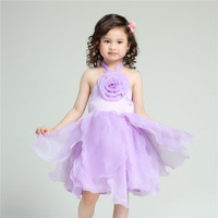 2016 Brand Formal Girl Dress Children Purple Wedding Vestidos Kids Clothes For Girl Of 2 3