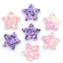 40Pcs Glitter Leather Padded Patches Star Shape Applique for Craft/Clothes/Hairpin DIY Scrapbooking Accessories K63