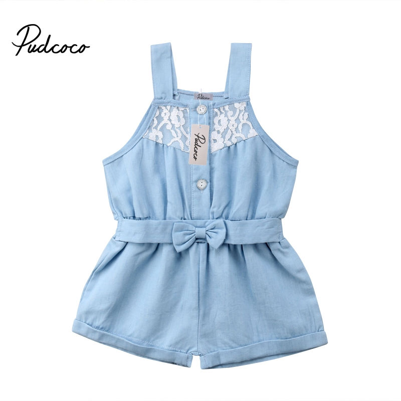 Kids Baby Girl Denim   Romper   Jumpsuit Sunsuit Summer Outfits Clothes Baby Girl Lace Sleeveless Bow Bandage   Romper   Blue