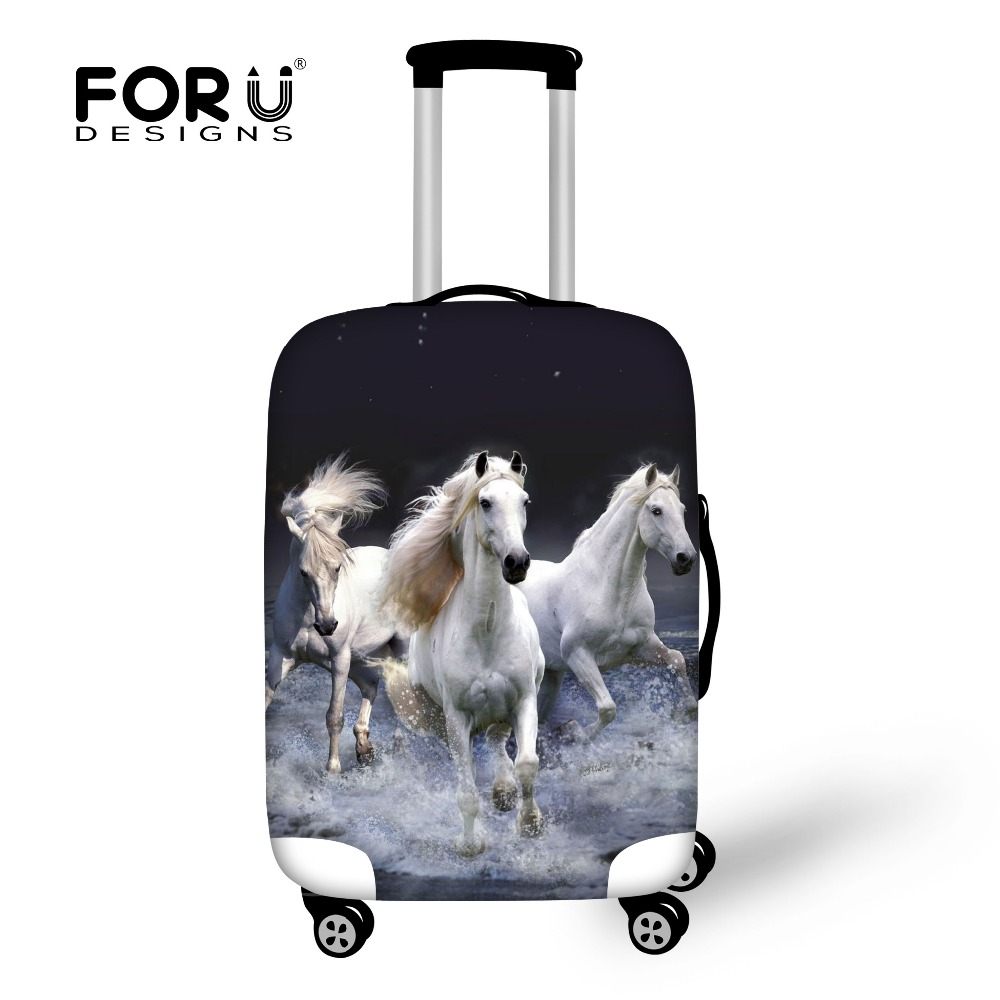 Thick Waterproof Suitcase Protective Covers for 18-30 Inch Trolley Luggage Case 3D Animal Crazy Horse Luggage Elastic Cover Free