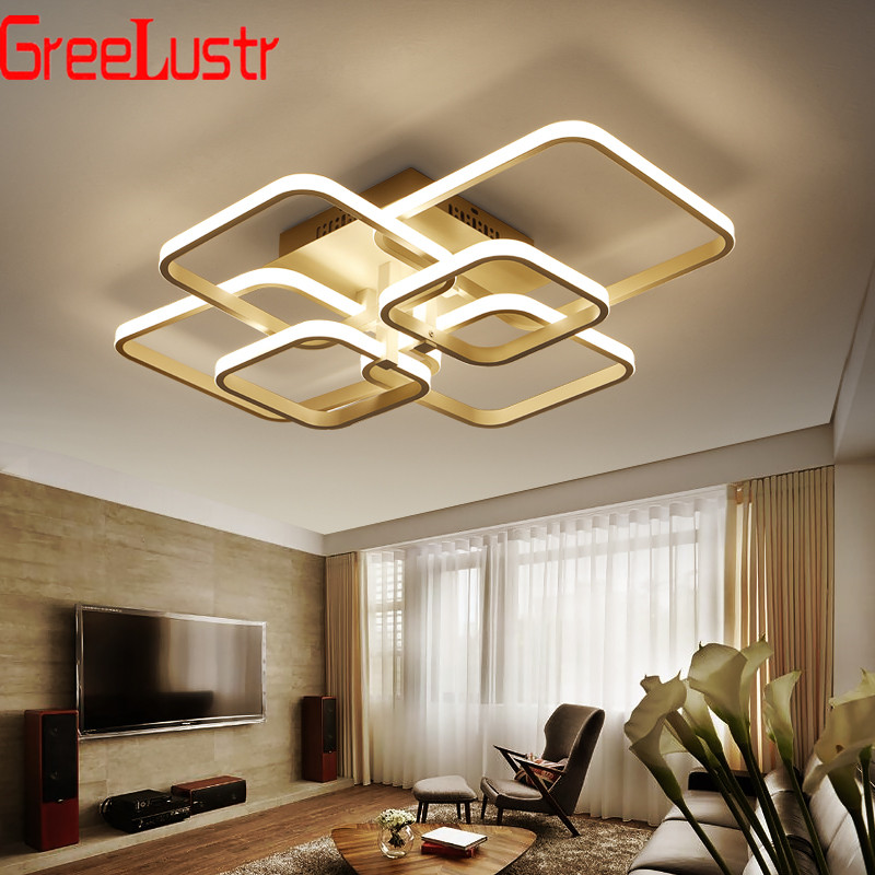 Acrylic Square Modern LED Chandeliers Lighting For Dining Living Room Remote Ceiling Lamp Led Plafon Chandelier Light Fixtures
