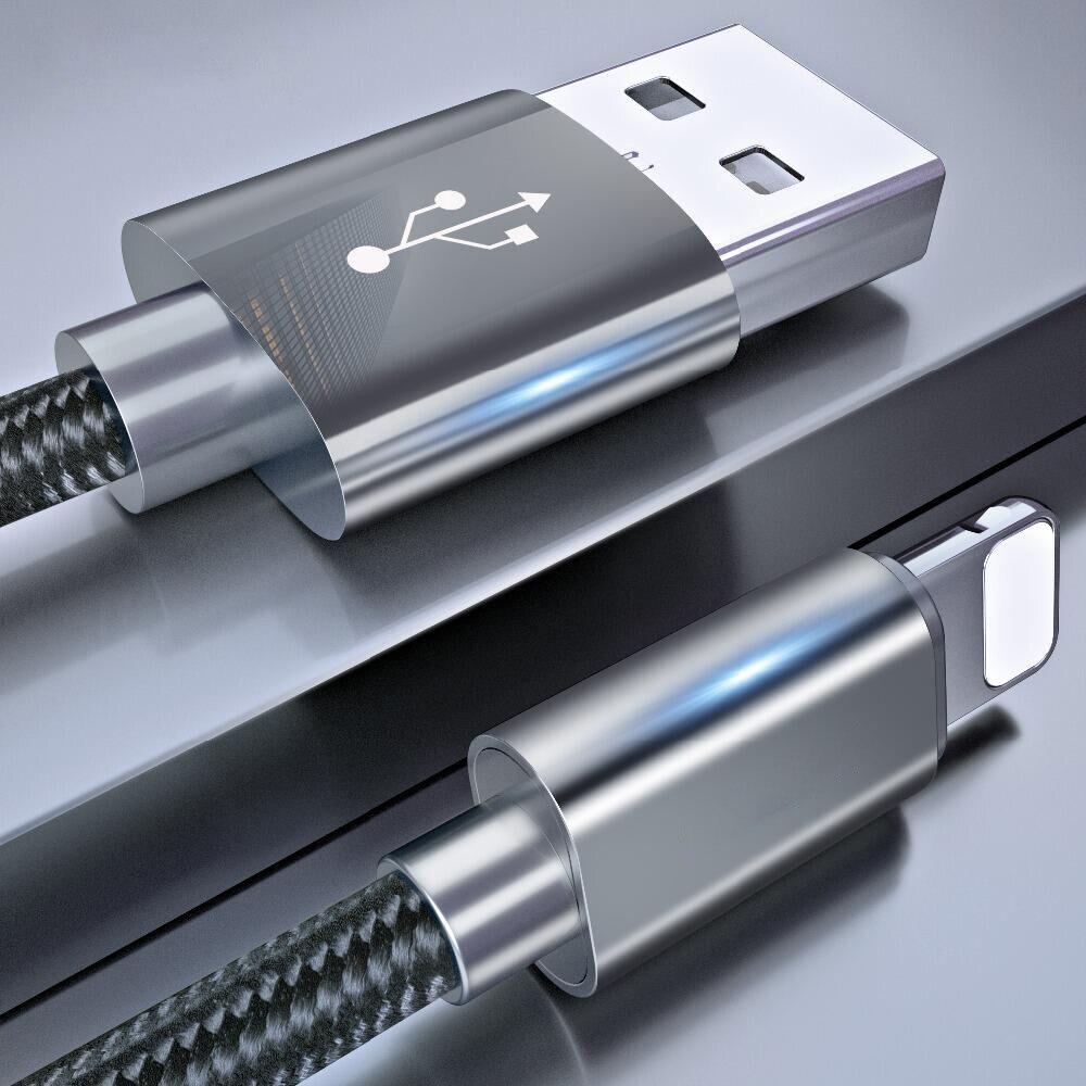 Câble de Date USB 1 m pour iphone 8 7 6 6 s plus 5 se câble d'éclairage de charge rapide en Nylon pour câble de chargeur iPad iphone