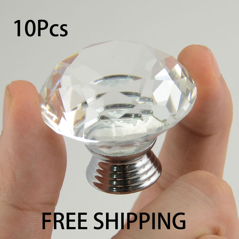 Popular hardware 10pcsX 40mm Diamond Shape Clear Transparent Crystal Glass Drawer Cabinet Pull Handle Knob Free Shipping SJ-1010 golden brass kitchen faucet swivel spout vessel sink mixer tap hot and cold water deck mounted