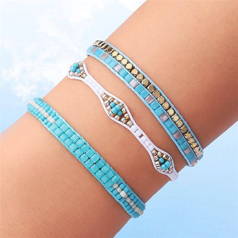 3 Pcs/Set Bohemia Austrian Crystal Beads Bangles Bracelets For Women 100% Handmade Weave Cotton Rope Friendship Charm Jewelry R5