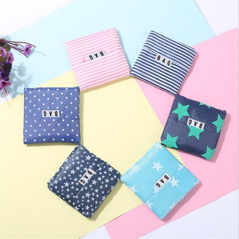6 Ps Farbe Floral Mode Faltbare Mehrweg Einkaufstasche Handtaschen Bequem Große-kapazität Lagerung Taschen Polyester Frauen Solide