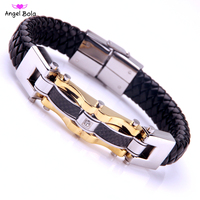 Fashion Punk Genuine Leather Men Bracelets Bangles High Quality Stainless Steel Gold Color Charm Bracelet For