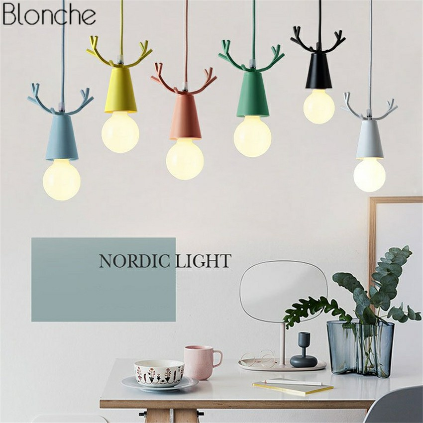 Nordic Deer Pendant Lights Christmas Antlers E27 Led Hanging Lamp for Children's Room Bedroom Kitchen Home Light Fixtures Decor