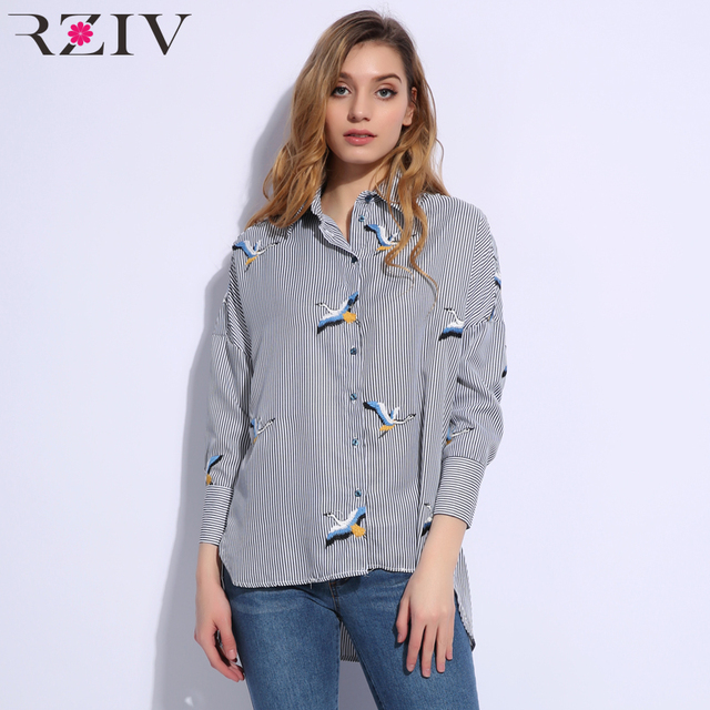 RZIV 2018 Autumn women shirt blouse casual striped shirt loose embroidered shirt top