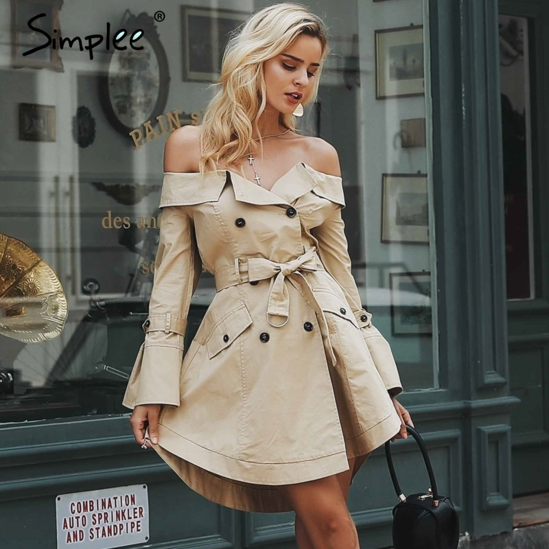 Simplee Sexy off shoulder trench coat women Elegant khaki outerwear coats Double breasted sash casual outwear autumn winter 2018