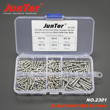 240pcs M3 (3mm) A2 Stainless Steel ISO7380 Button Head Allen Bolts Hexagon Socket Screws With Nuts Assortment Kit NO.2301