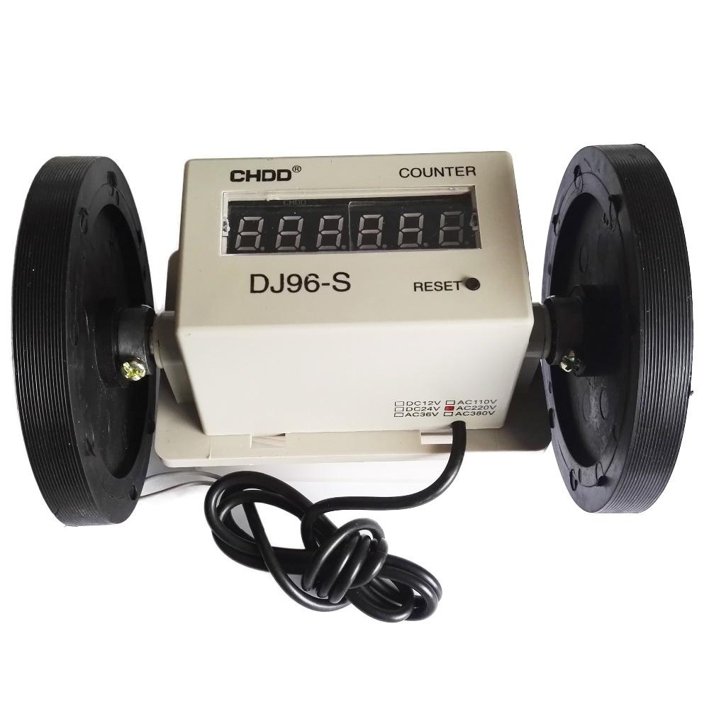 цена на DJ96-S Cheap Wheel Type Length Measuring Meter Textile Fabric Meter Counter AC220V