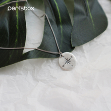 Peri'sBox 925 Sterling Sliver Coin Compass Pendant Necklaces Round Disc Chain Chokers Collares Fashion Jewelry Layered Necklaces