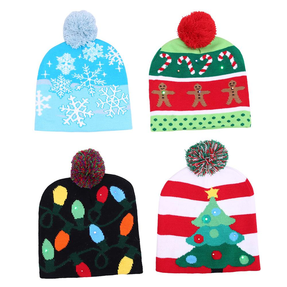 2018 New Funny LED Knitted Christmas Hat Kids Adults Warm Hat New Year Christmas Decoration Party Tree Snowflake Hat