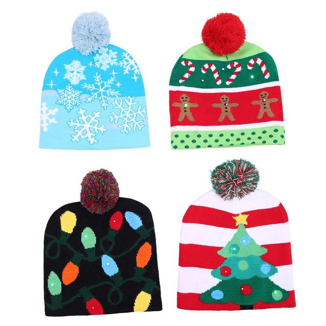 64b6d6eaefc 2018 New Funny LED Knitted Christmas Hat Kids Adults Warm Hat New Year  Christmas Decoration Party