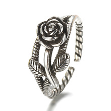 100% 925 sterling silver retro style rose flower thai silver ladies`finger rings jewelry female open party ring wholesale cheap