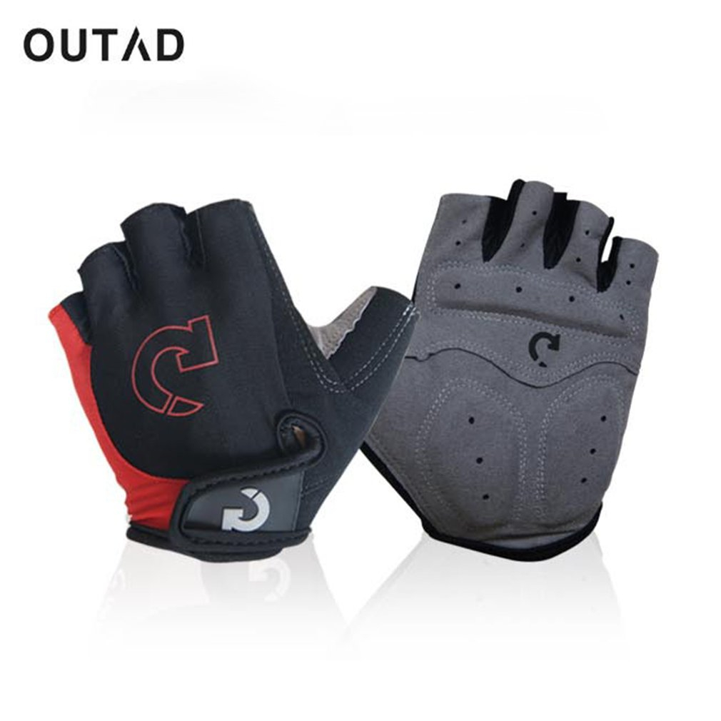 OUTAD Riding Gloves Breathable Half Finger Cycling Skiing Gloves Shockproof Antiskid Racing Motorcycling Rock Climbing Gloves