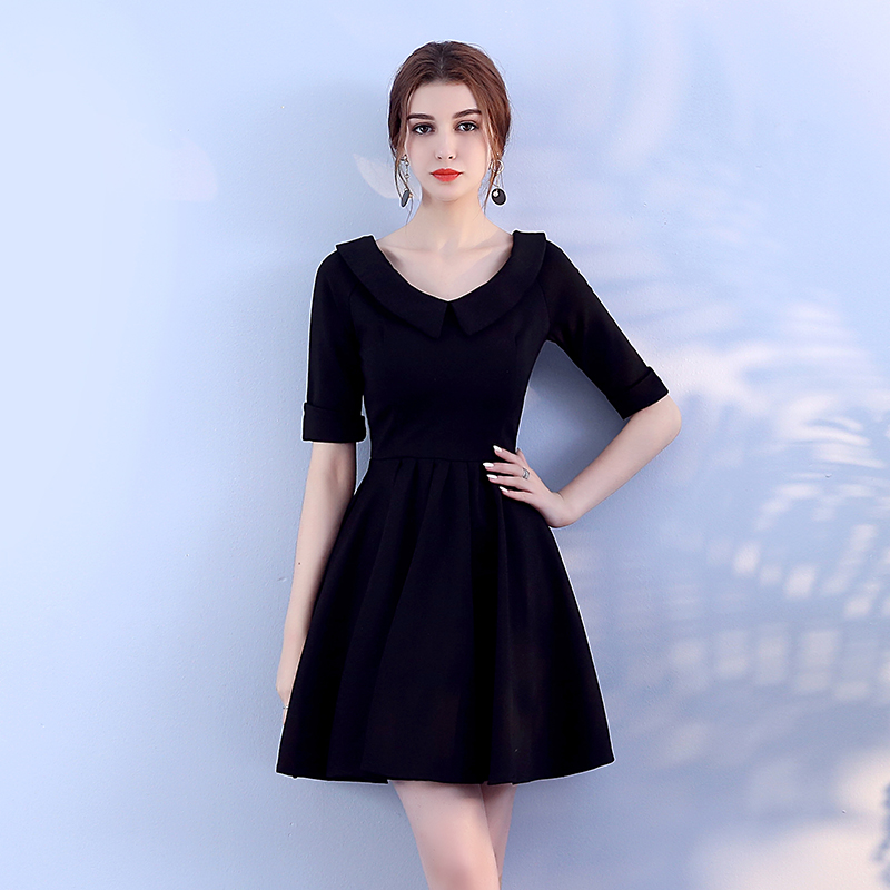 Black Colour Knitted Mini Dress Bridemaid Women Wedding Party Back of Zipper