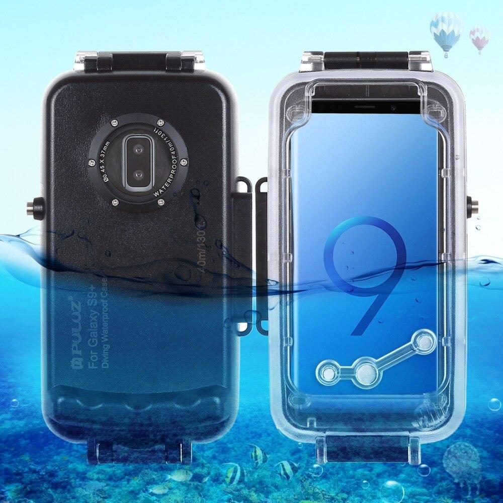 PULUZ 40 m/130ft boîtier de plongée étanche pour Galaxy S9 + surf natation plongée en apnée Photo vidéo prise sous-marine Cas de couverture