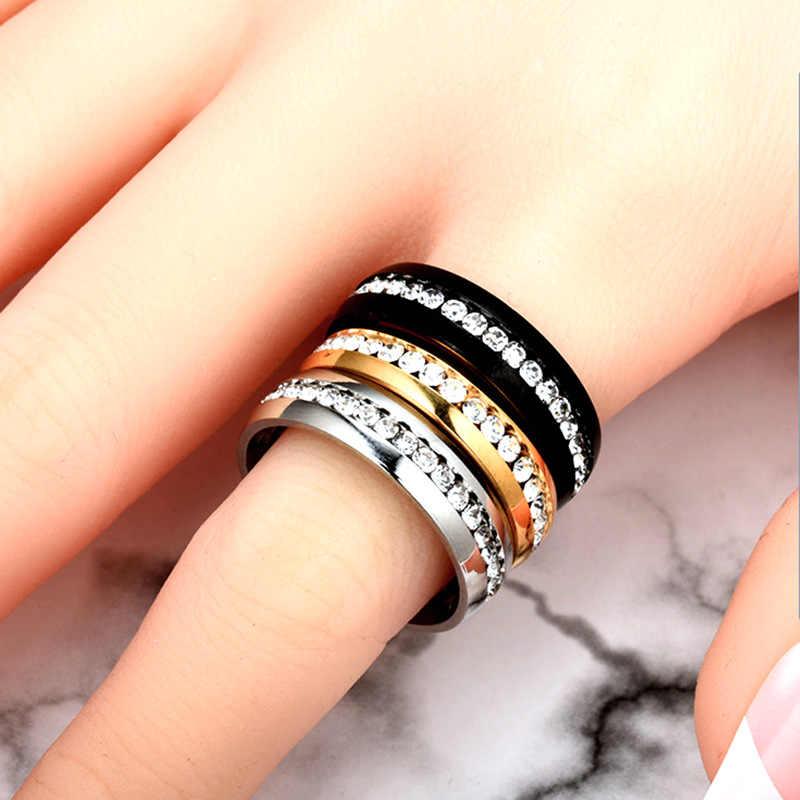 MadApe ไม่เคยเลือนผู้หญิงงานแต่งงานแหวนสแตนเลสสตีลคริสตัลแหวนไทเทเนียมสแตนเลส CZ เครื่องประดับหิน