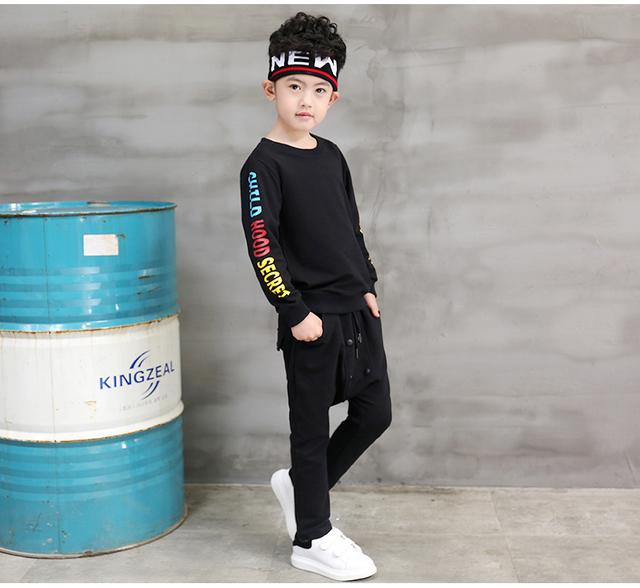 Pioneer niños 2016 chicos primavera ropa conjunto deportivo casual cartas chándal ropa superior de la camiseta + pantalones
