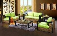 2016 новый дизайн открытый ротанга множество 4 шт. диван таблица плетеная мягкая сад патио мебель
