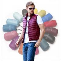 Free Shipping Men Duck Down Vest Ultra Light Duck Down Vest Reversible Waistcoat Vest Sleeveless Jacket
