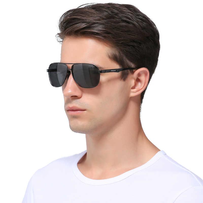 Мужские солнцез.очки класса защ.УФ400 KINGSEVEN, черные солнцезащитные очки в алюминиевой оправе с поляризованными зеркальными линзами класса защиты УФ400, лето 2019