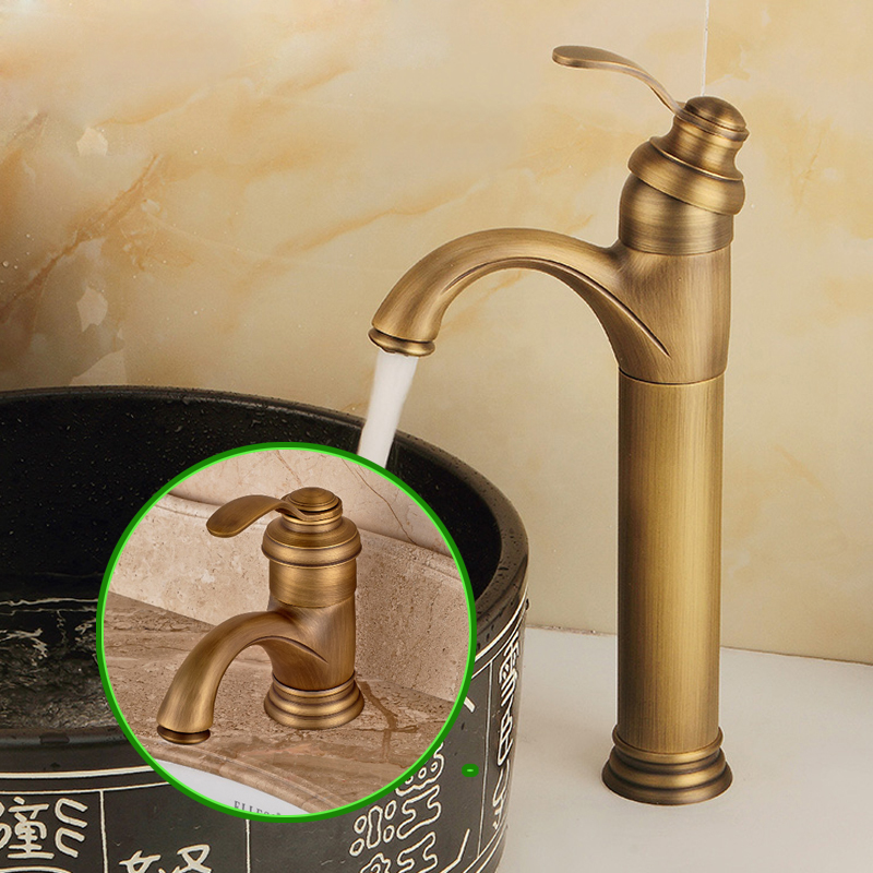 Wholesale and Retail Antique Brass Deck Mounted Bathroom Sink Faucet Hot and Cold Mixer Tap wholesale and retail swan bathroom sink faucet solid brass hot and cold water taps antique brass