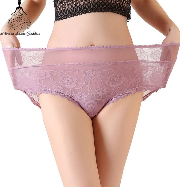 0752dfd4068 Transparent Panties Women Underwear Plus Size XL XXL XXXL XXXXL Sexy Full  Lace Floral Briefs Sexy Intimates Lingerie Mid Waist