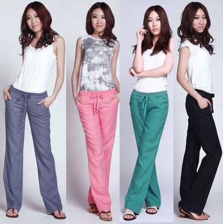 6e718b9b4 2016 nuevos pantalones para mujer pantalones casuales pantalones casuales  mujer cintura elástica pantalones mujer pantalones de lino pantalones anchos  de la ...