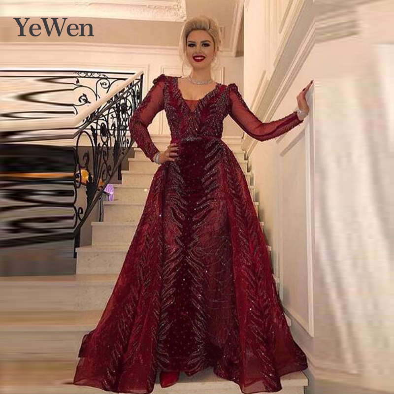 YEWEN Lady's Red V-neck Lace Long-sleeved Evening Dress