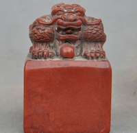 Old Chinese Shoushan Stone pure Hand Carved Pixiu Beast Statue Seal Stamp Signet