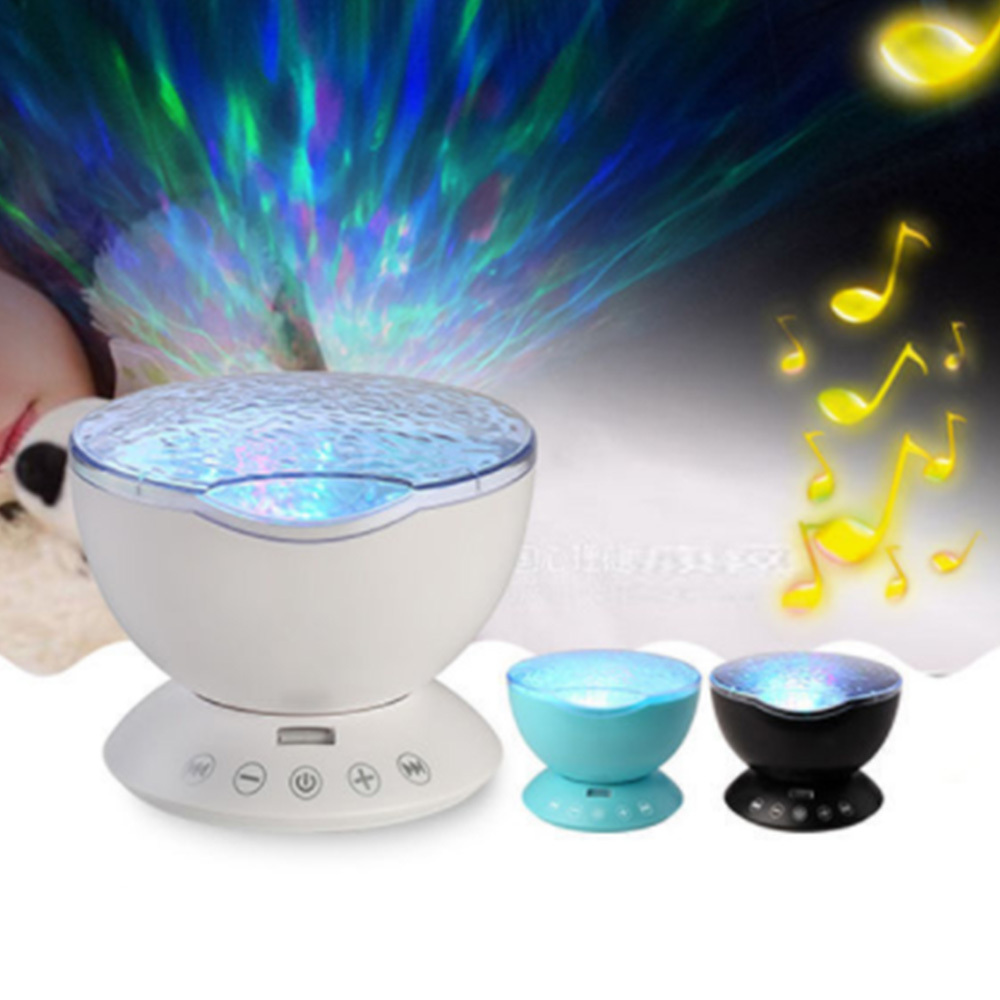Bedroom Ocean Wave Projector LED Night Light Music Player Remote Control For Kid Bedroom